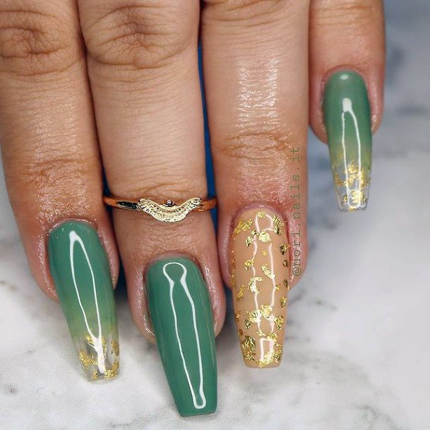 Glossy Green Nails With Golden Creeper Design For Women