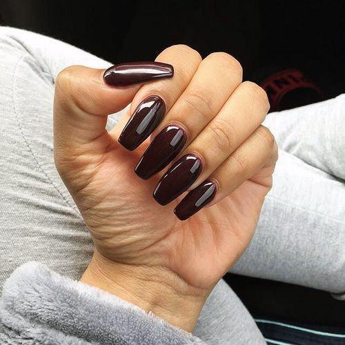 Glossy Hazelnut Chocolate Sauce Nails For Women