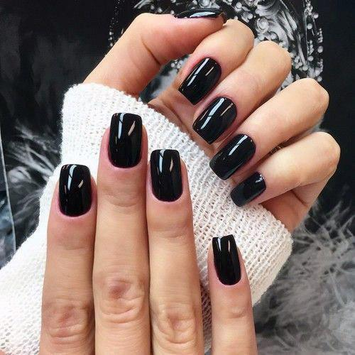 Glossy Jet Black Nails Women