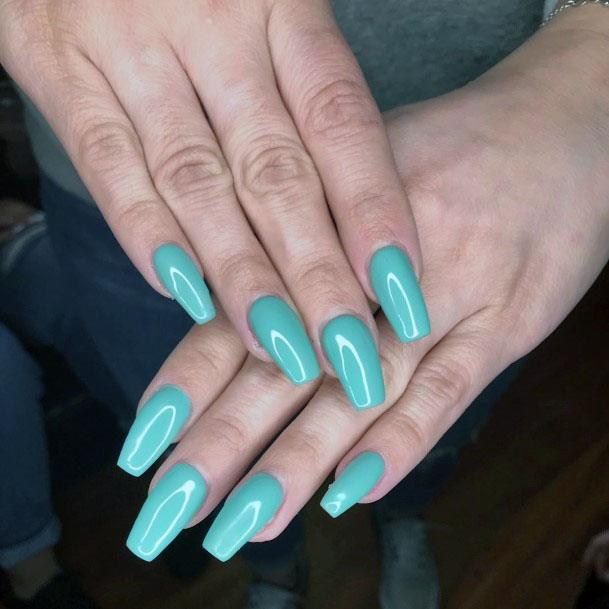 Glossy Mint Squoval Nails Women