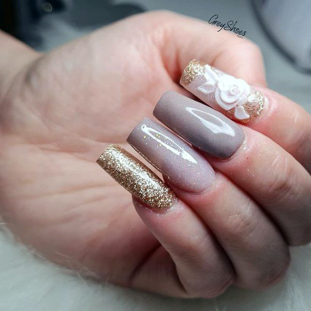 Glossy Nails Women 3d Flowers