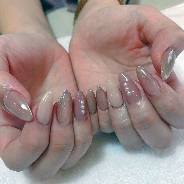 Glossy Nude Nails With Pearl For Women