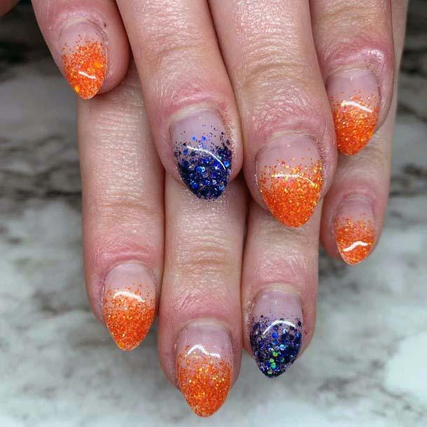 Glossy Orange And Blue Tipped Nails For Women