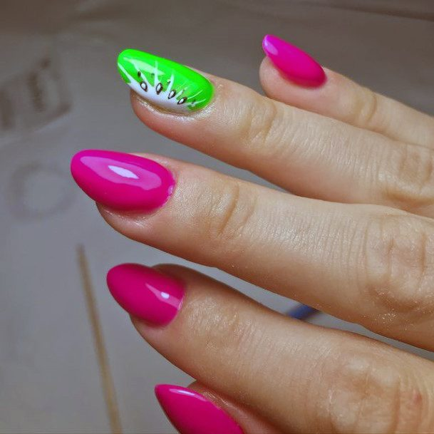 Glossy Pink And Kiwi Nail Accent Women