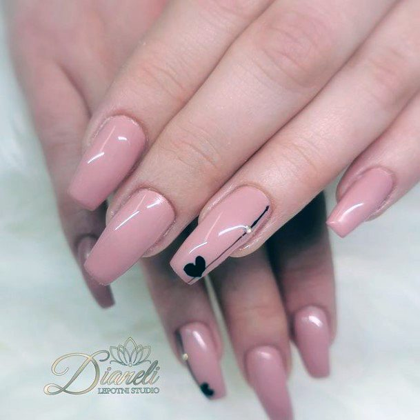 Glossy Pink Nails With Heart Romantic Nails Women
