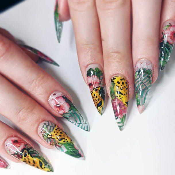 Glossy Plants Art On Nails Women