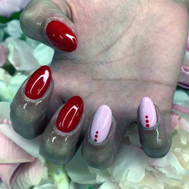 Glossy Red And Pink Dotted Nails For Women