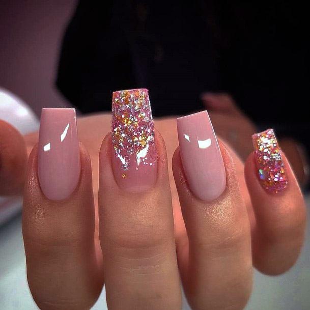 Glossy Salmon Pink Nails Women