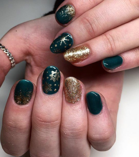 Glowing Gold On Green Nails Women
