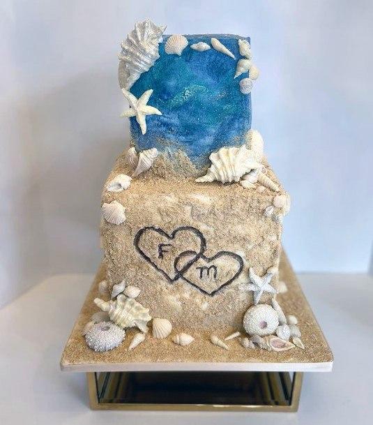 Gold And Blue Beach Wedding Cake Women