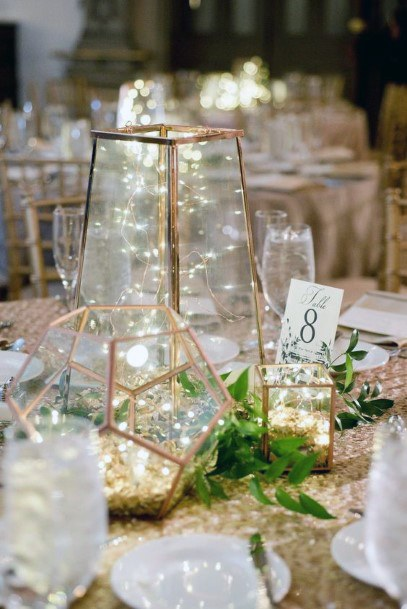Gold Geometric Jars With Fairy Lights Inspiration Wedding Centerpiece Ideas