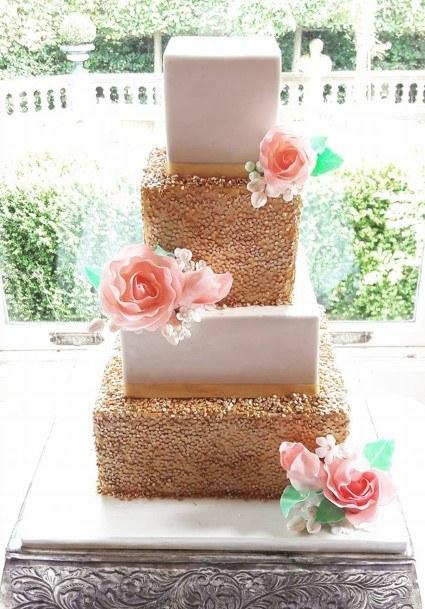 Gold Sequin Wedding Cake Victorias Heavenly Cupcakes