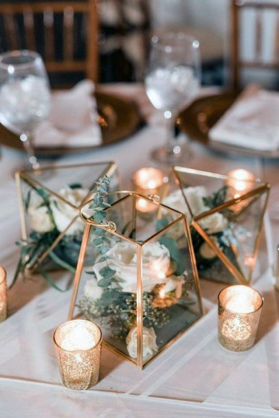 Gold Terrarium Inspired Wedding Centerpiece Ideas