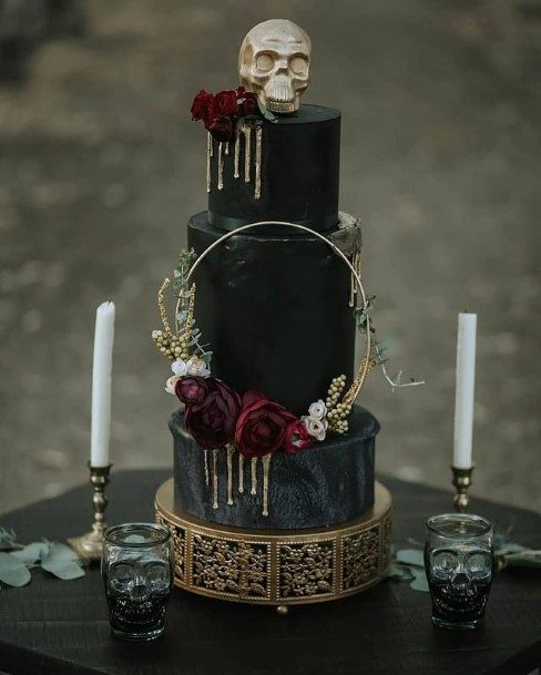 Gold Tinted Halloween Black Wedding Cake
