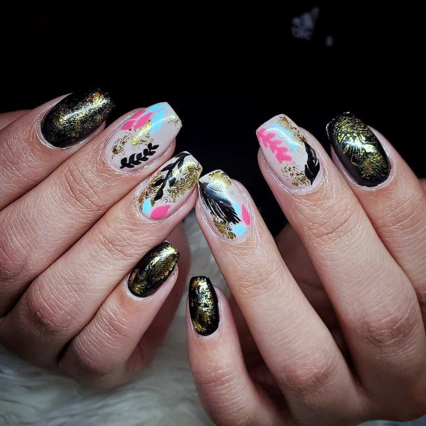 Golden And Black Tropical Nails Women