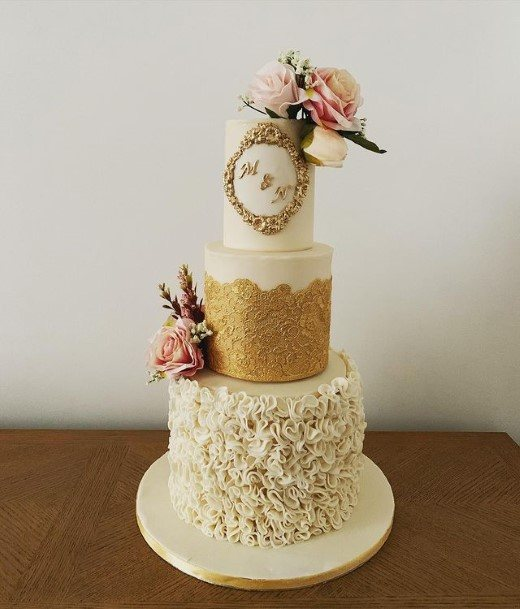 Golden And White Beautiful Wedding Cakes