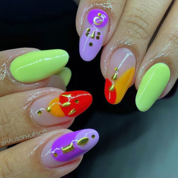 Golden Art On Colorful Nail Ideas For Women