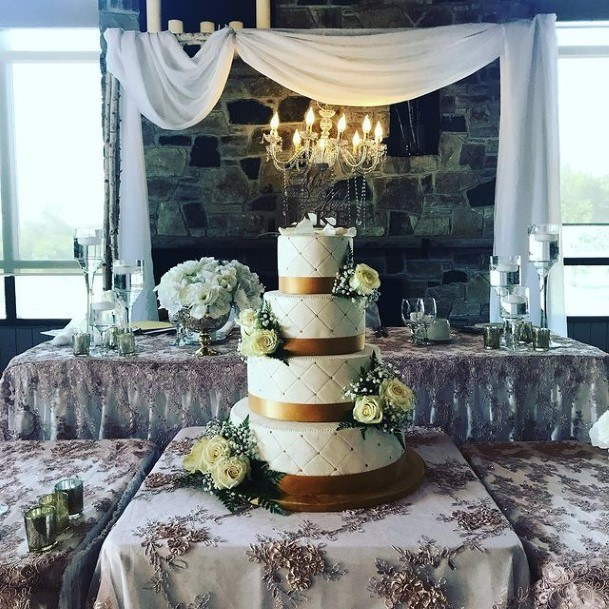 Golden Bands White Country Wedding Cake