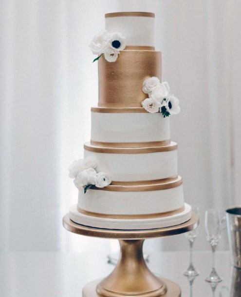 Golden Bands White Wedding Cake