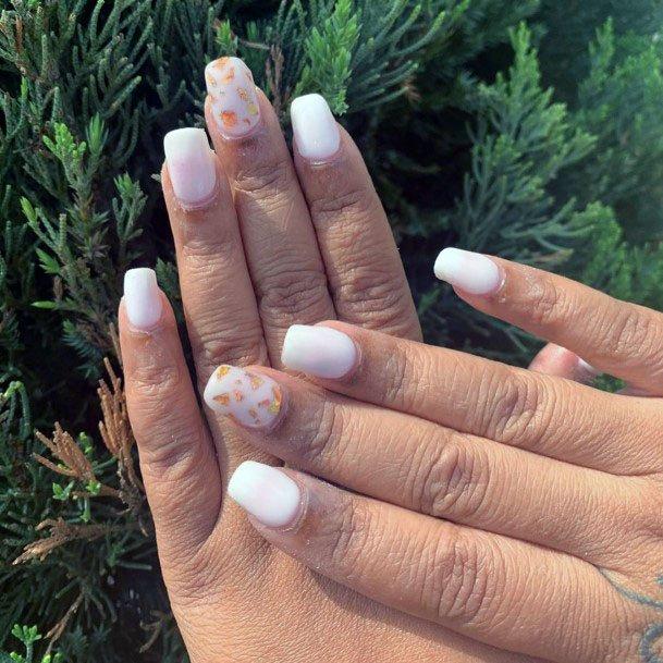 Golden Bits On White Gel Nails Women