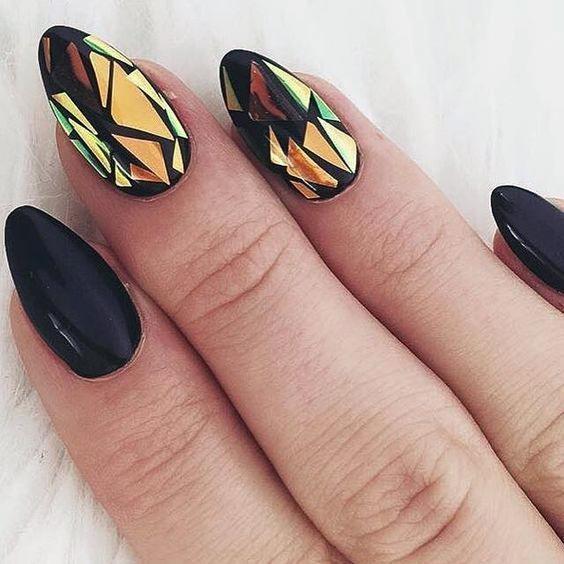 Golden Black Glass Nails For Women