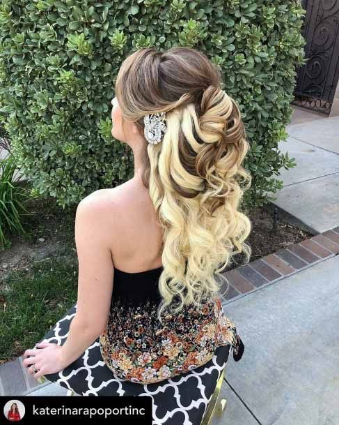Golden Bleached Cascading Ringlets Hairstyle Women