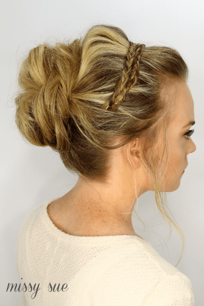 Golden Blonde Woman With Pullback Into Large Center Bun