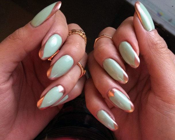 Golden Bordered Mint Nails Women