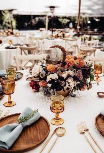 Golden Brown Themed Rustic Wedding Flowers