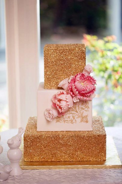 Golden Cube Wedding Cake With Pink Rose