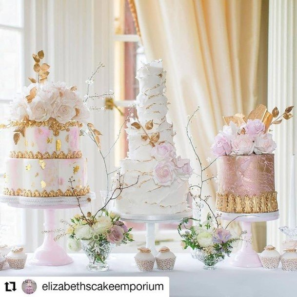 Golden Decorated Pink And White Beautiful White Cake