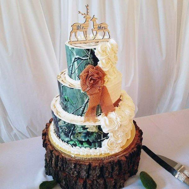 Golden Deer Camo Wedding Cakes