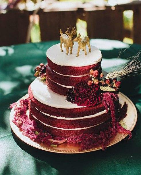 Golden Deer On Red Velvet Wedding Cake