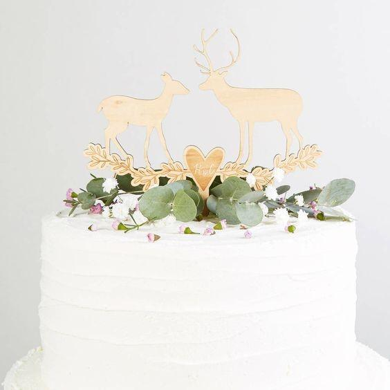 Golden Deer On White Rustic Wedding Cake Toppers