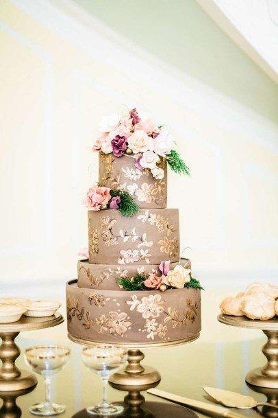 Golden Flower Art On Chocolate Wedding Cake