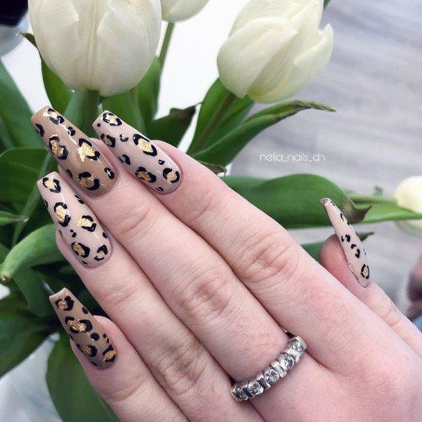 Golden Foil Leopard Nails Women