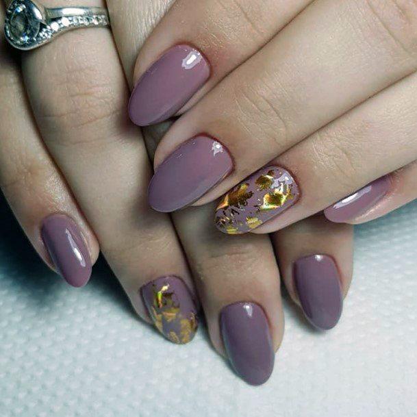 Golden Foil On Mauve Nails Shellac Art For Women