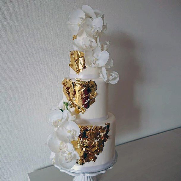 Golden Foil On White Wedding Cake