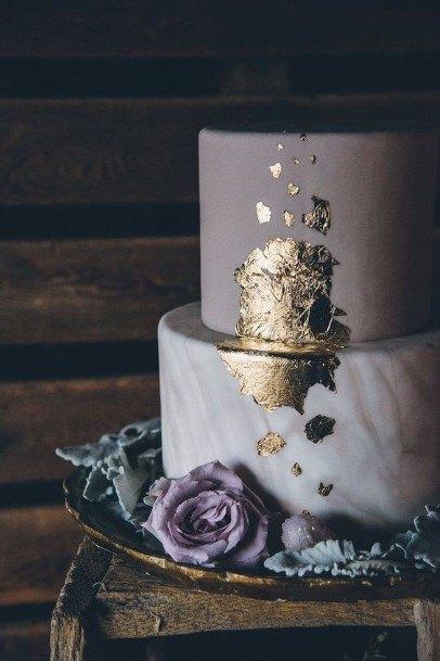 Golden Foil Purple Wedding Cake