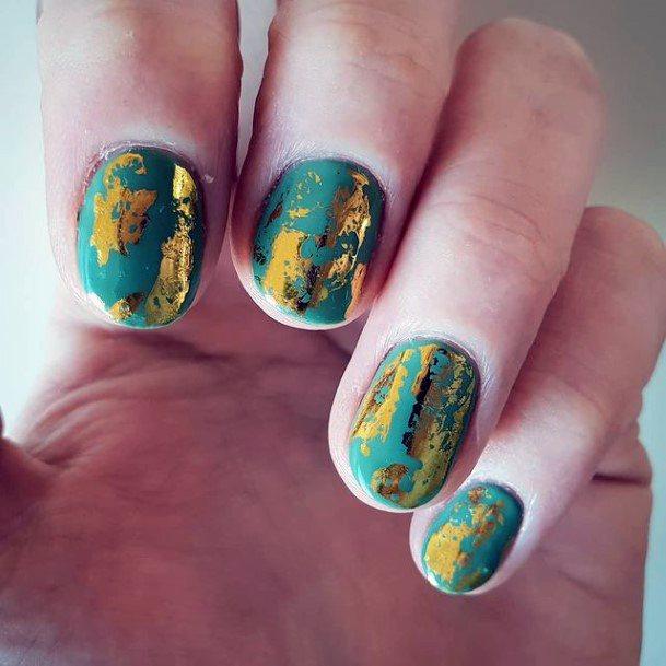 Golden Foiled Green Nails Women