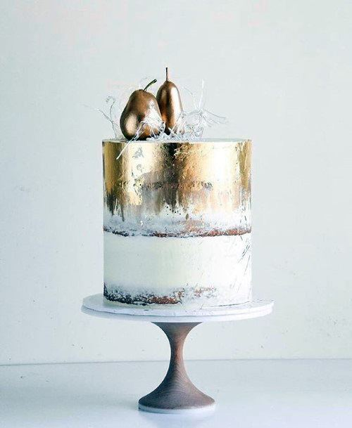 Golden Fruit Topper Wedding Cake