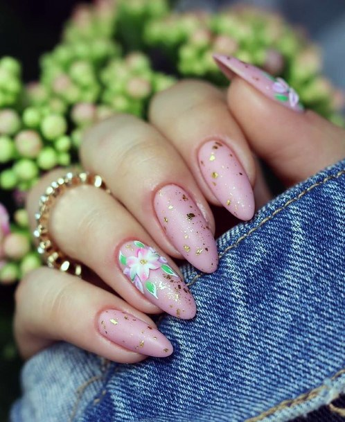 Golden Glitter April Nails Women