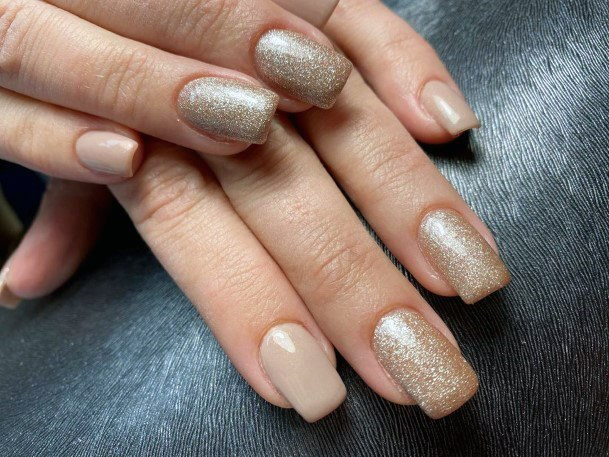 Golden Glitters And Nude Nails For Women