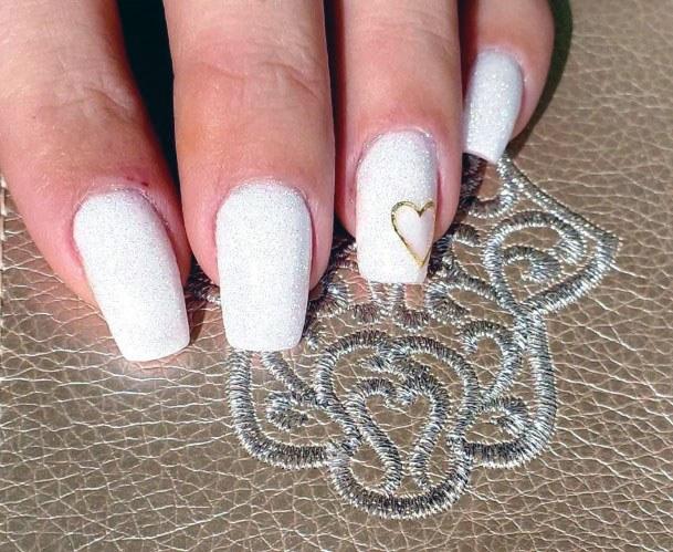 Golden Heart On White Gel Nails Women
