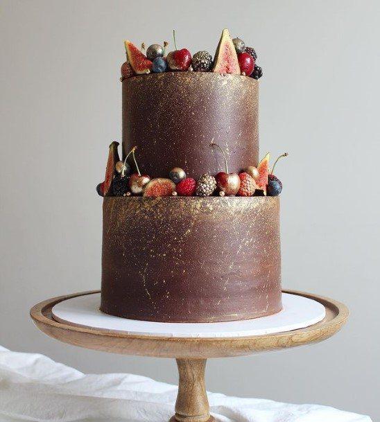 Golden Hints Chocolate Wedding Cake