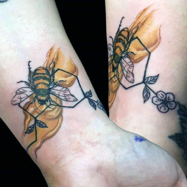 Golden Honey Bee Tattoo Womens Hands
