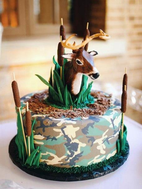 Golden Horned Deer Camo Wedding Cake