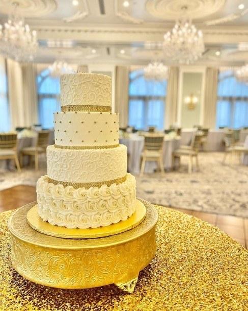 Golden Jackpot Buttercream Wedding Cake