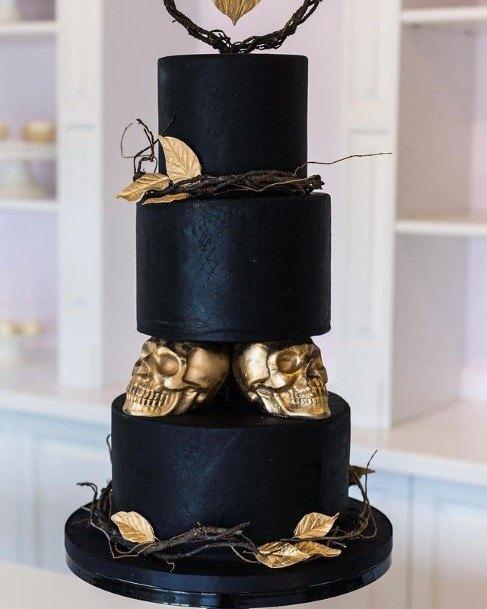 Golden Leaf And Skull Black Halloween Wedding Cakes