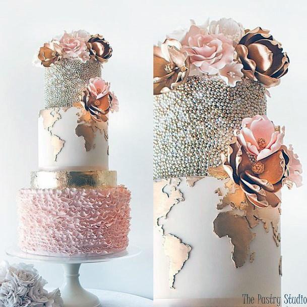 Golden Map Art Womens 3 Tier Wedding Cake